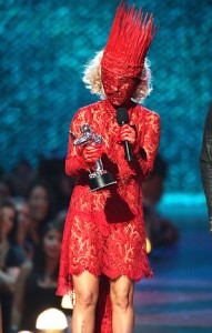 Lady Gaga in Alexander McQueen Archive, MTV VMA show in 2009.