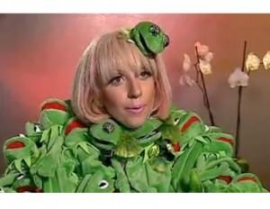 "Lady Gaga in Jean-Charles de Castelbajac's ""Kermit"" jacket."